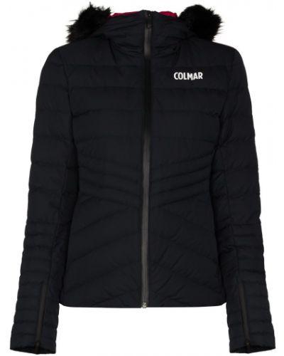 Черная куртка с капюшоном с опушкой с манжетами из искусственного меха Colmar