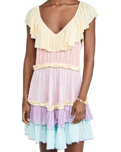 Трикотажное платье мини с декольте в полоску Pitusa