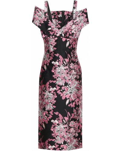 Платье миди с принтом - черное Dolce & Gabbana
