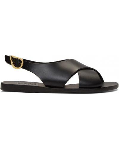 Skórzany czarny sandały grecki na pięcie z klamrą Ancient Greek Sandals