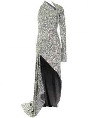 Серебряное с рукавами платье макси с пайетками Monse