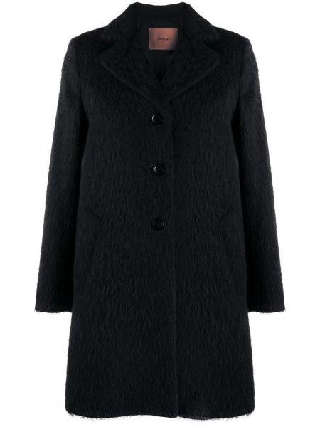 Черное однобортное пальто из мохера на пуговицах Twin-set