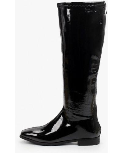 Лаковые черные кожаные сапоги Marco Bonne