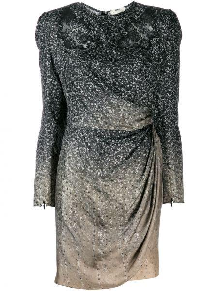 Платье мини серое с запахом Fendi