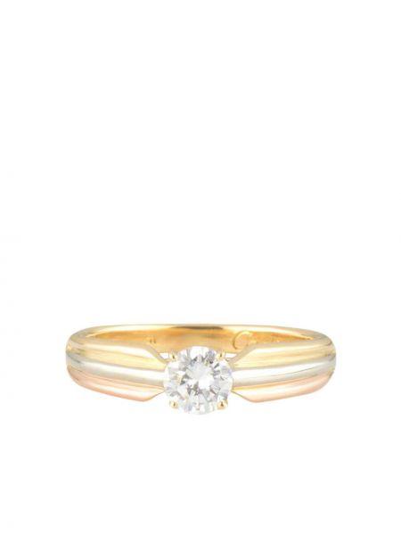 Z rombem biały pierścień okrągły z diamentem Cartier