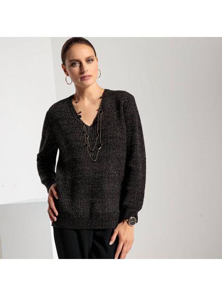 Пуловер с V-образным вырезом в рубчик Anne Weyburn
