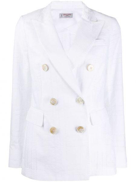 Приталенная белая классическая куртка с лацканами Alberto Biani
