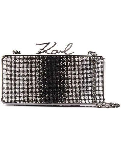 С ремешком черная кожаная сумка на цепочке Karl Lagerfeld
