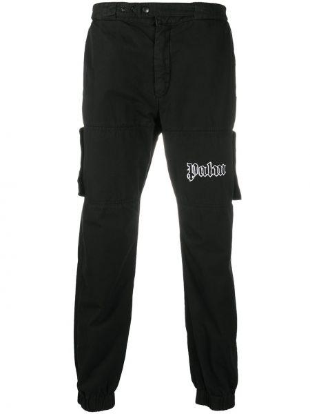 Bawełna spodni czarny spodnie o prostym kroju z kieszeniami Palm Angels