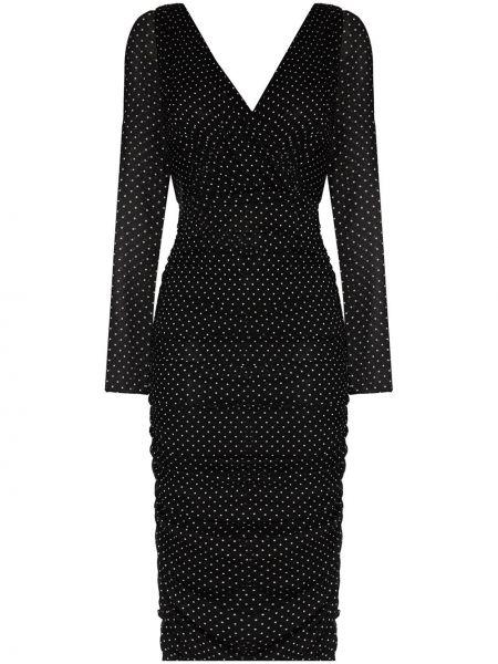 Шифоновое черное платье миди с запахом Dolce & Gabbana