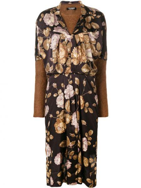 Трикотажное черное платье макси с длинными рукавами Junya Watanabe