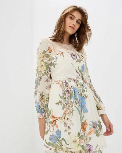 Бежевое платье с длинными рукавами Blugirl Folies