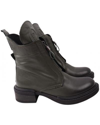 Кожаные ботинки - зеленые Aquamarin