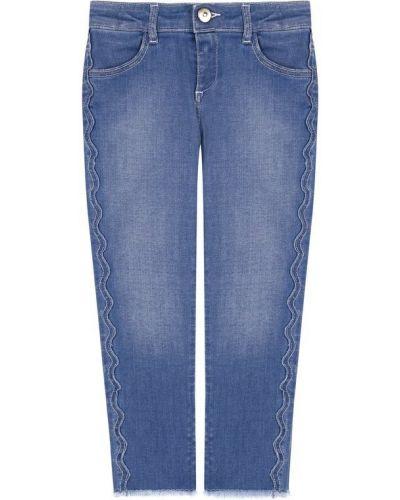 Прямые джинсы с эффектом потертости с поясом Chloé