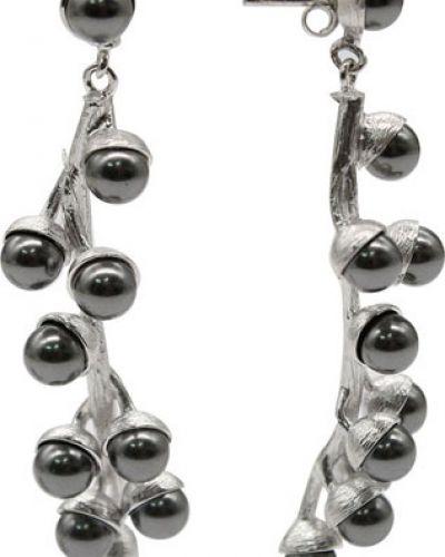 Серьги с жемчугом удлиненные серебряные Nina Ricci