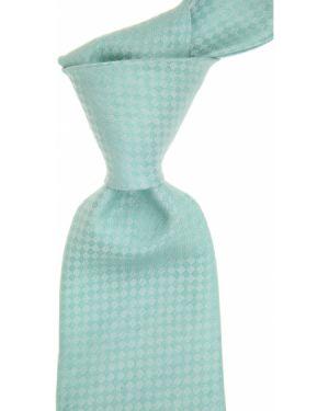 Krawat z jedwabiu w kratę turkusowy Kiton