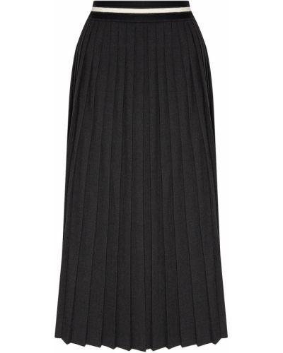Плиссированная серая юбка миди с поясом из вискозы Laroom