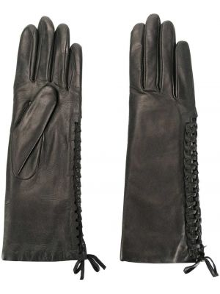 Черные кожаные перчатки из альпаки Agnelle