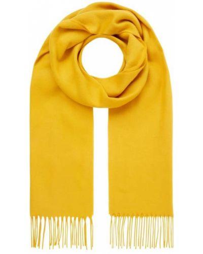 Żółta ciepła szal z frędzlami Fraas