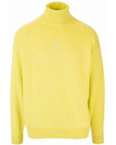 Z kaszmiru sweter - żółty Balenciaga