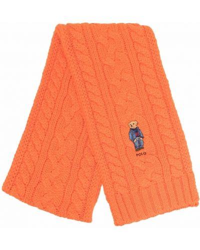 Szalik wełniany - pomarańczowy Polo Ralph Lauren