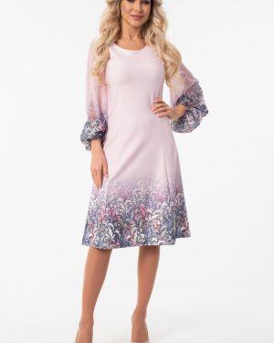 Шифоновое розовое платье с рисунком с вырезом Wisell
