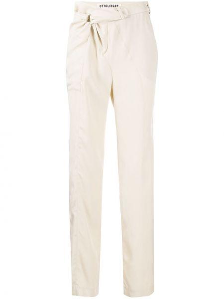 Брючные серебряные льняные брюки Ottolinger