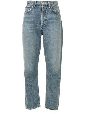 Синие с завышенной талией прямые джинсы Agolde