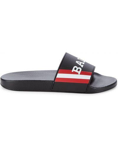 Czarne sandały sportowe peep toe w paski Bally