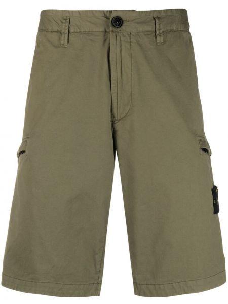 Зеленые хлопковые шорты карго с карманами Stone Island