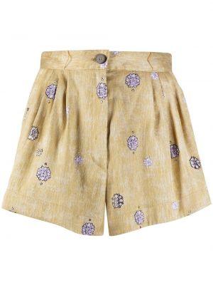Хлопковые с завышенной талией шорты на молнии Forte Forte