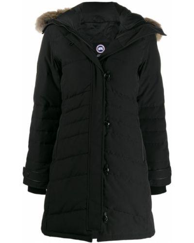 Длинное пальто на кнопках черное Canada Goose