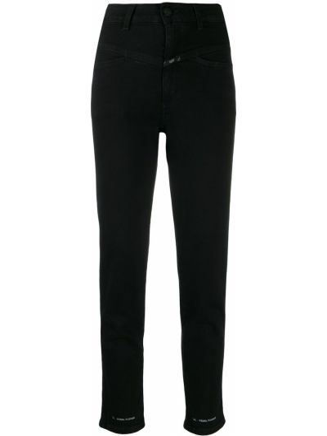 Хлопковые черные укороченные брюки с карманами Closed
