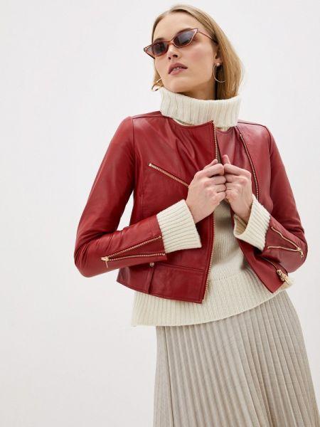 Кожаная куртка весенняя красная Liu Jo