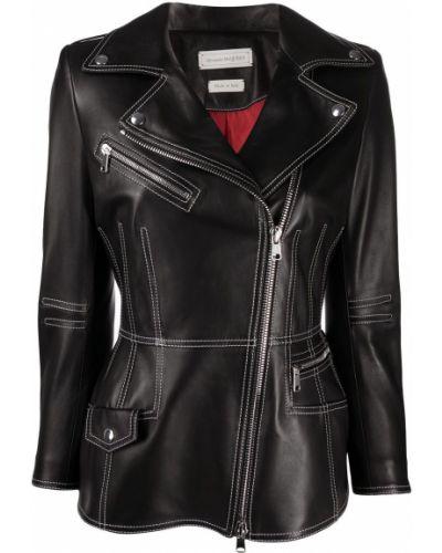 Кожаная черная длинная куртка с подкладкой с лацканами Alexander Mcqueen
