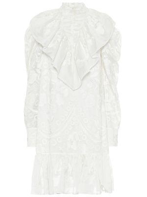 Ватное белое шелковое платье мини Erdem
