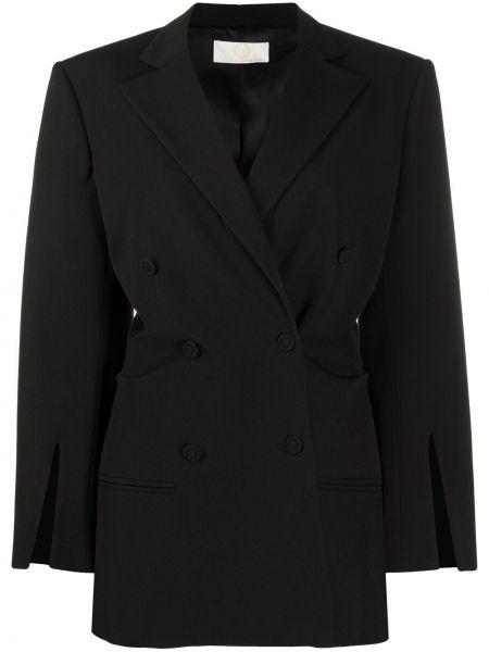 Черный удлиненный пиджак двубортный для полных Sara Battaglia