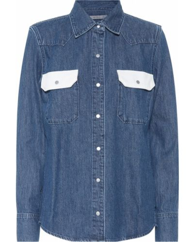 Синяя джинсовая рубашка с запахом Calvin Klein Jeans