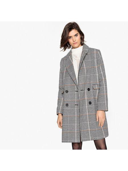 Акриловое серое пальто с воротником на пуговицах La Redoute Collections