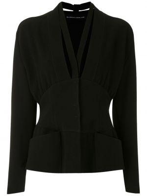 Черная блузка с длинным рукавом на пуговицах узкого кроя из вискозы Gloria Coelho