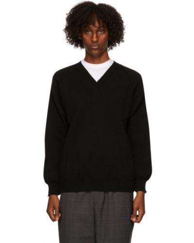 Czarny sweter z dekoltem w serek z długimi rękawami Comme Des Garcons Homme Deux
