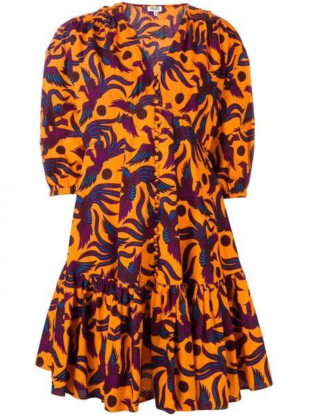 Платье с баской на пуговицах Kenzo