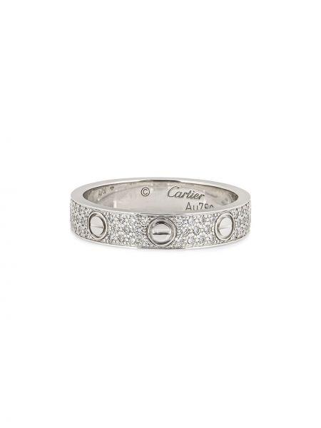 Серебряное кольцо с бриллиантом винтажное Cartier
