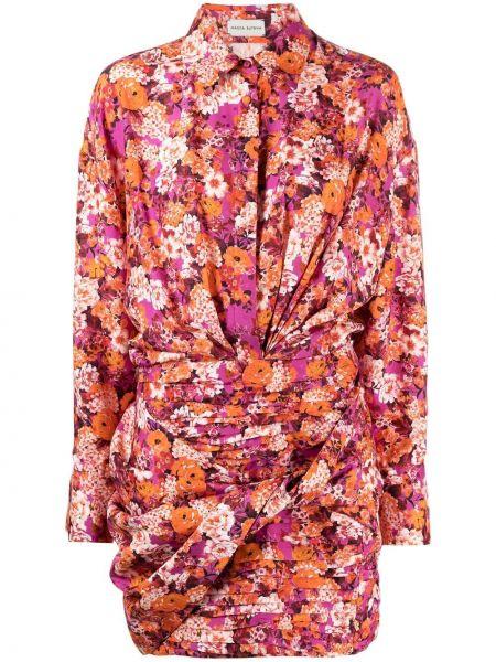 Шелковое розовое платье макси с длинными рукавами Magda Butrym