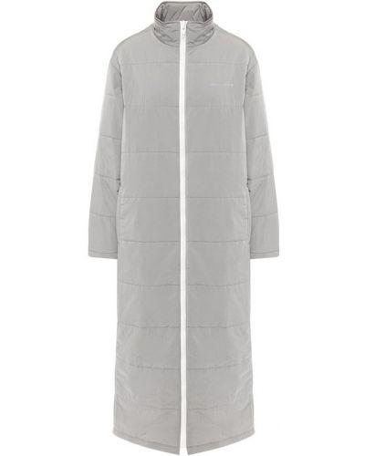 Стеганое пальто серое с воротником T By Alexander Wang