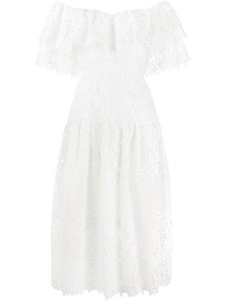 Белое открытое платье миди со вставками из вискозы Self-portrait