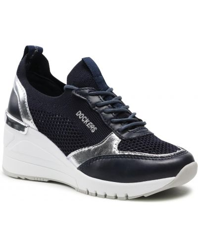 Sneakersy na koturnie - niebieskie Dockers By Gerli