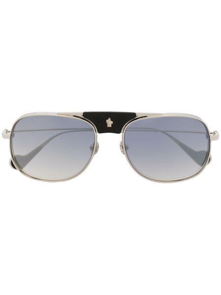 Прямые солнцезащитные очки прямоугольные металлические хаки Moncler Eyewear