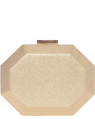Кожаный клатч золотого цвета Olga Berg
