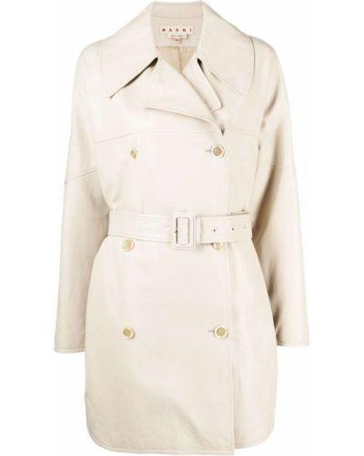 Biały długi płaszcz skórzany z długimi rękawami Marni